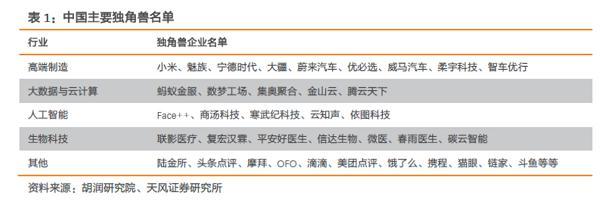 中国主要独角兽公司名单